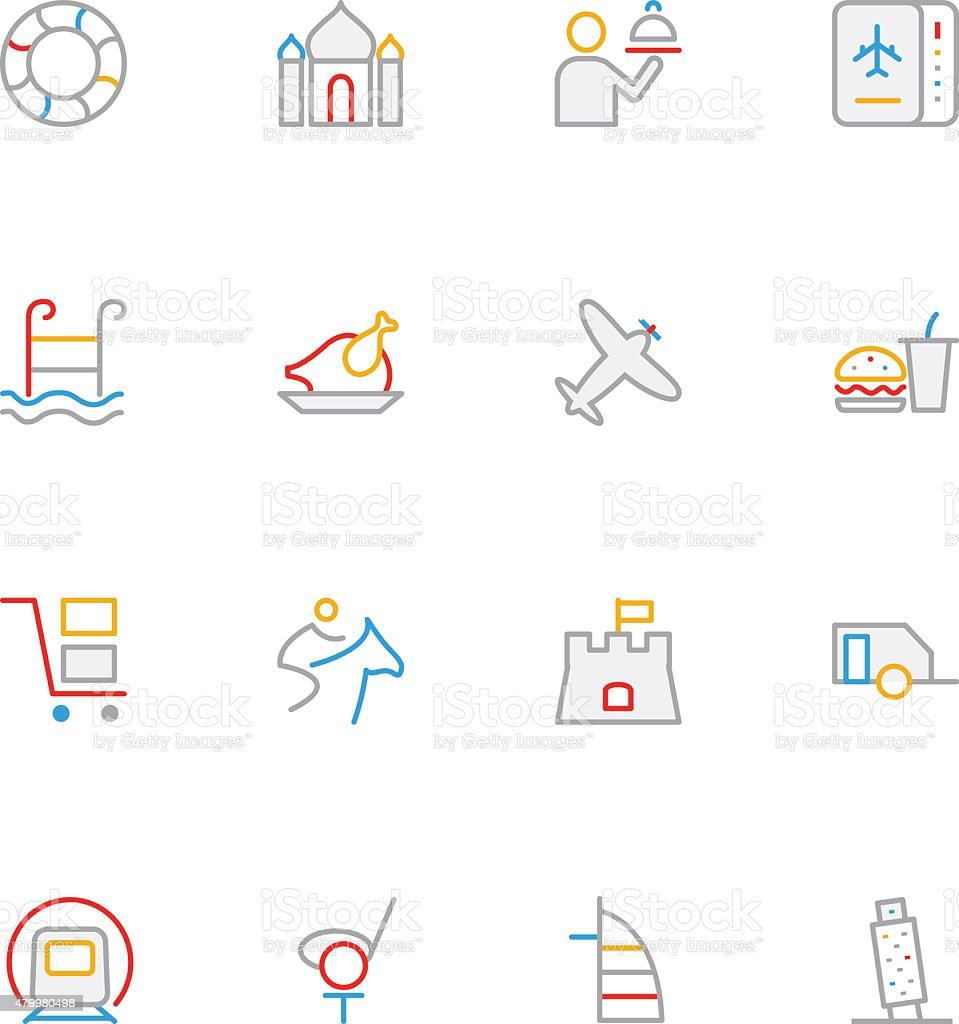 Travel Colored Line Icons 8 vector art illustration