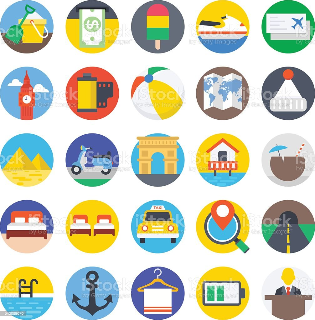 Travel Colored Vector Icons 5 vector art illustration