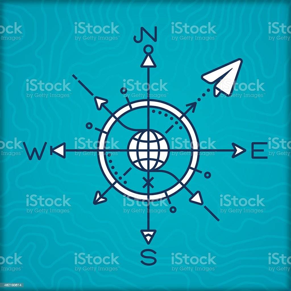 Travel Compass Rose vector art illustration