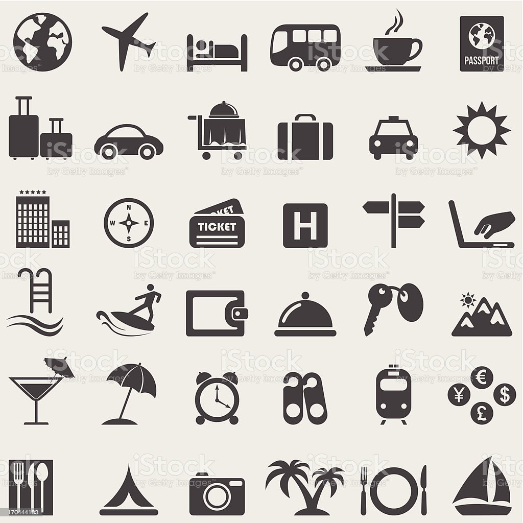 Travel complete icons set.Vector vector art illustration