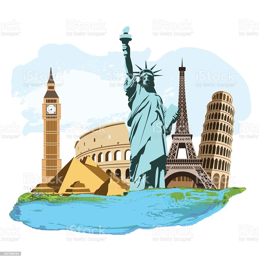 Travel composition vector art illustration