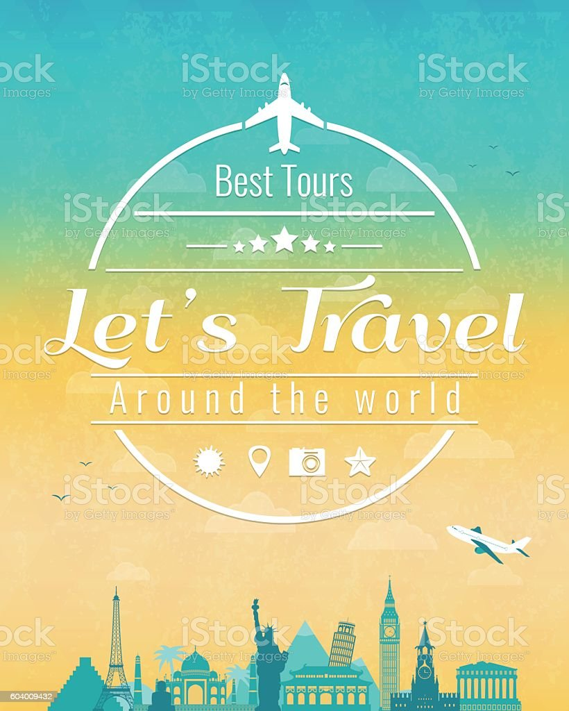 Travel composition with famous world landmarks and vintage badge. royalty-free stock vector art