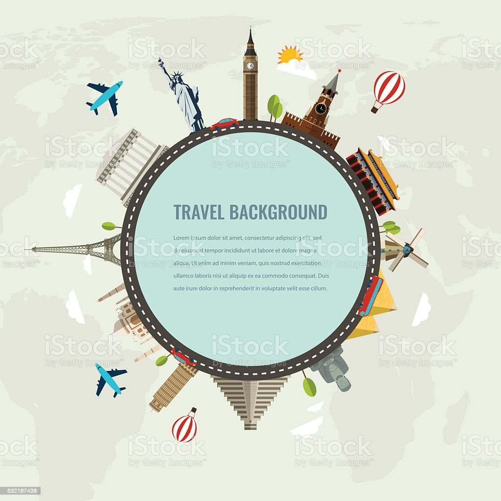 Travel composition with famous world landmarks icons. Vector Illustration royalty-free stock vector art