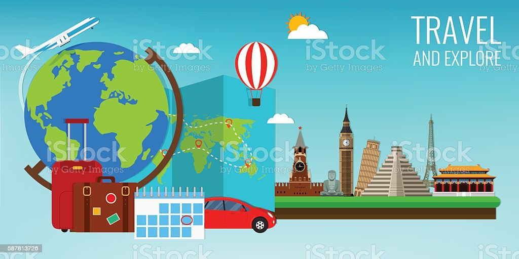 Travel composition with famous world landmarks. Travel and Tourism. royalty-free stock vector art