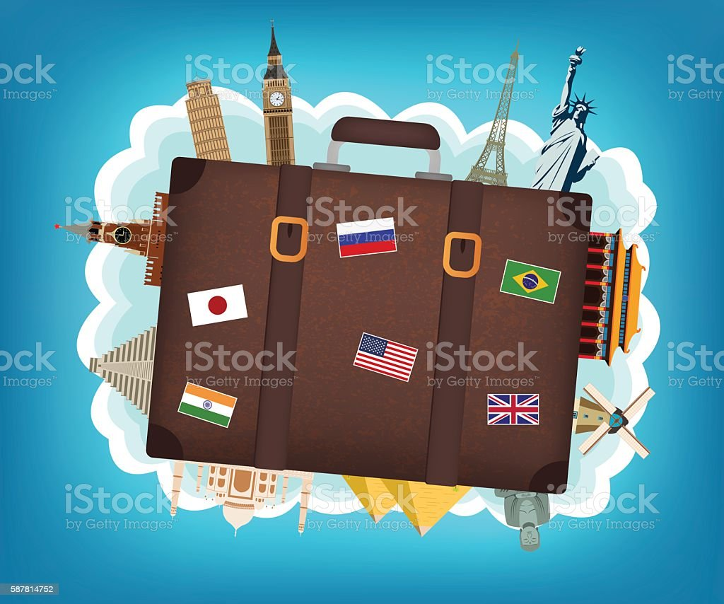 Travel composition with suitcase and famous world landmarks. royalty-free stock vector art