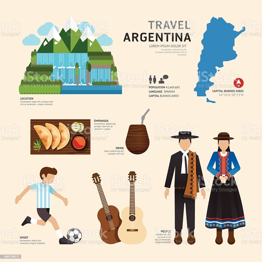 Travel Concept Argentina Landmark Flat Icons Design .Vector vector art illustration