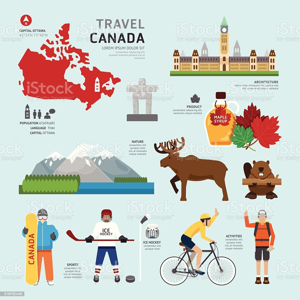 Travel Concept Canada Landmark Flat Icons Design .Vector vector art illustration