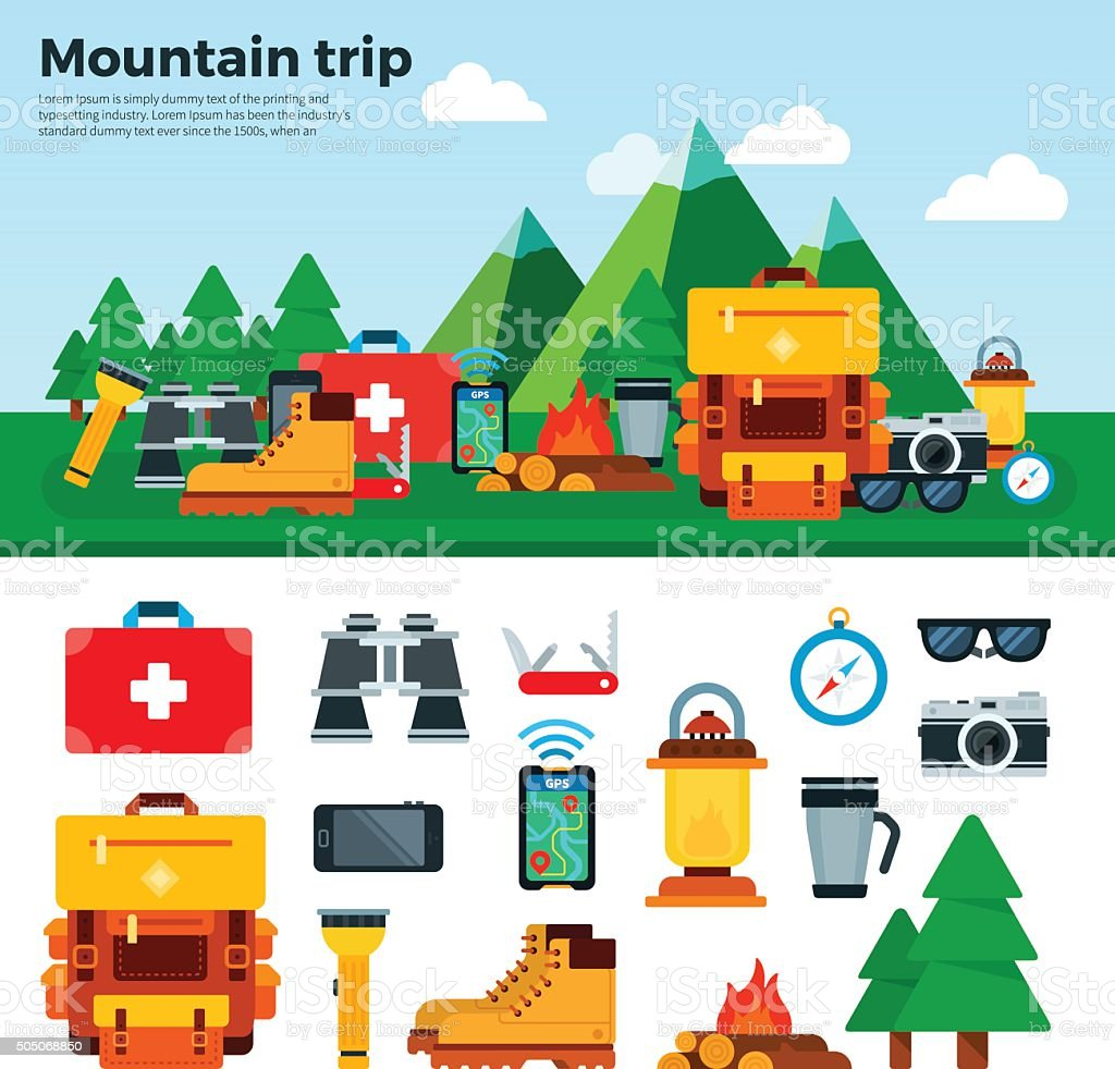 Travel Concept. Climbing Equipment. Sport Items vector art illustration