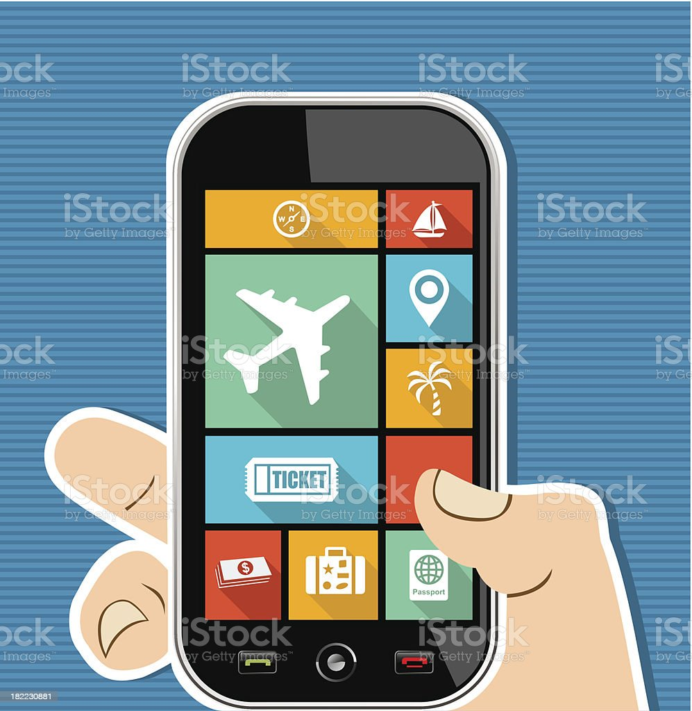 Travel concept human hand holds a smart phone UI applications. vector art illustration