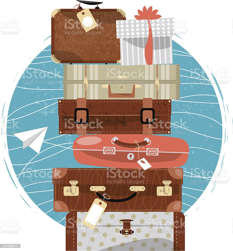 Travel concept. Stack of vintages suitcases. vector art illustration
