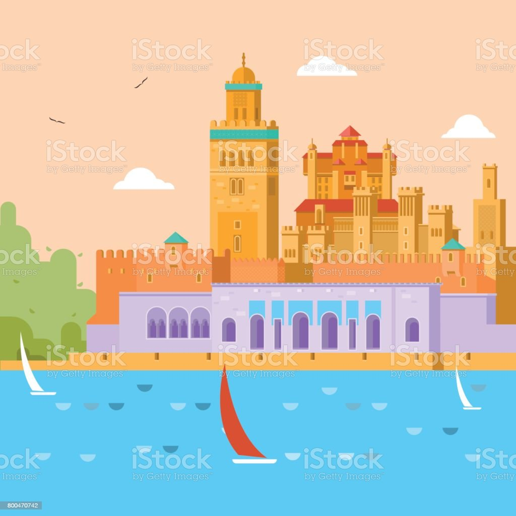 Travel concept. Travel in Morocco, study of the country and its culture, traditions, sights, learn about the history of the continent. Vector illustration. vector art illustration