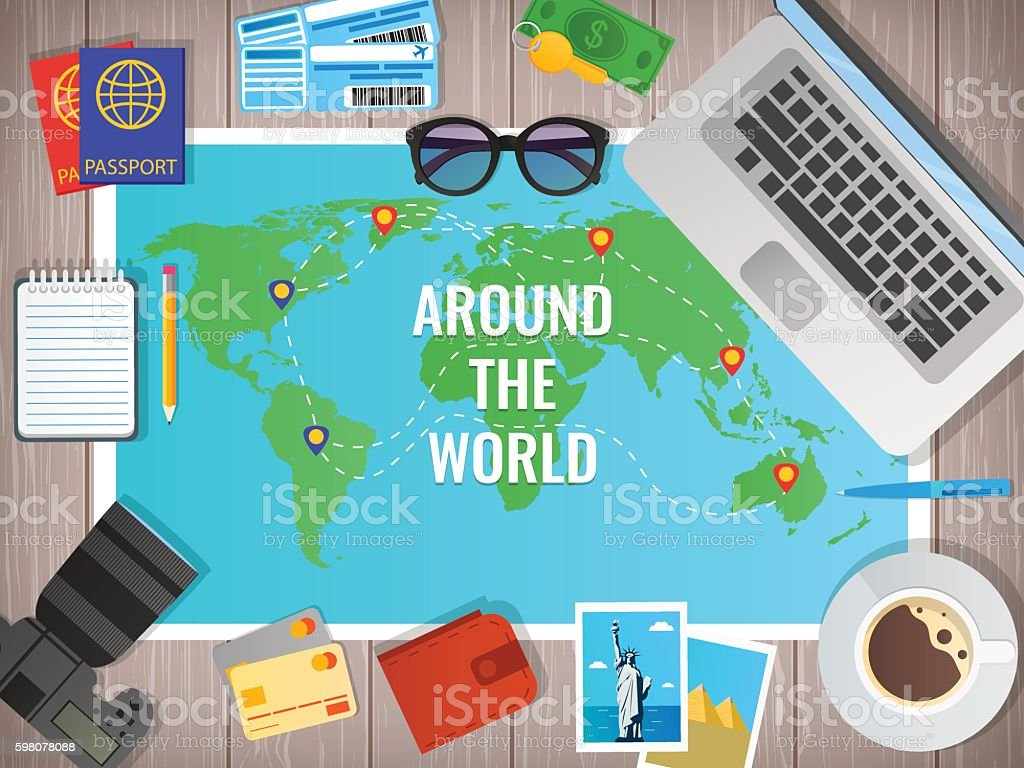Travel concept vector illustration. Web banner. Objects on wooden background. royalty-free stock vector art