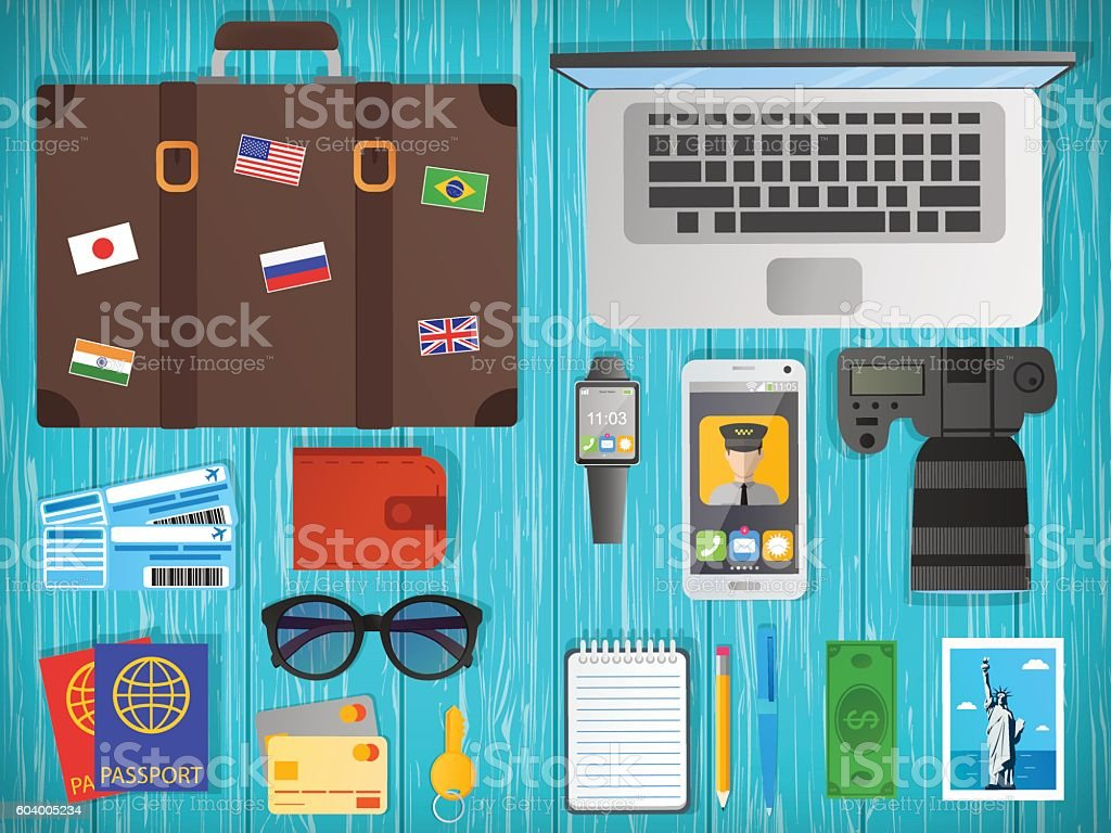 Travel concept vector illustration. Web banner. Objects on wooden background. vector art illustration