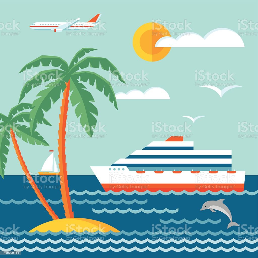 Travel cruise - vector concept illustration in flat style design. vector art illustration