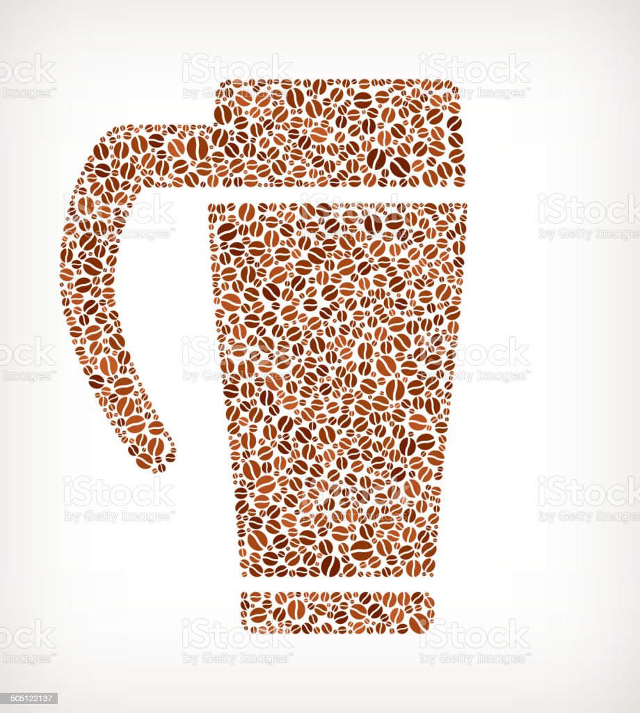 Travel Cup royalty free Coffee Bean Pattern vector art illustration
