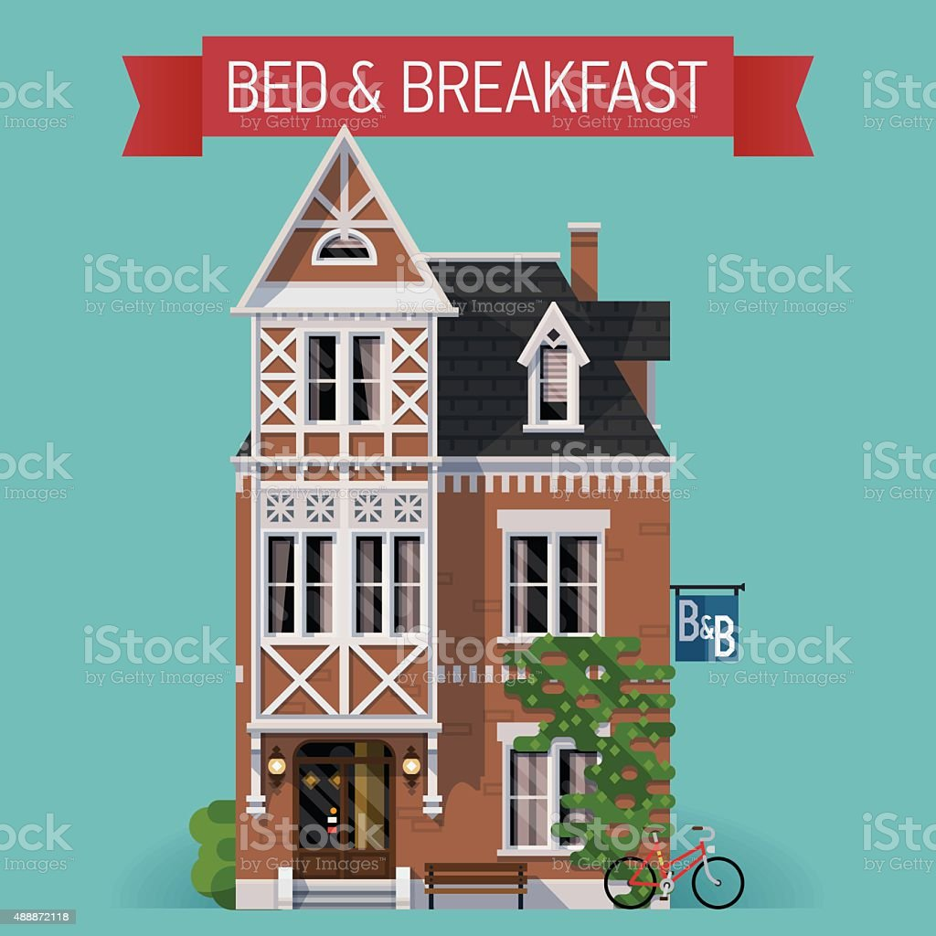 Travel decorative background with bed and breakfast building vector art illustration