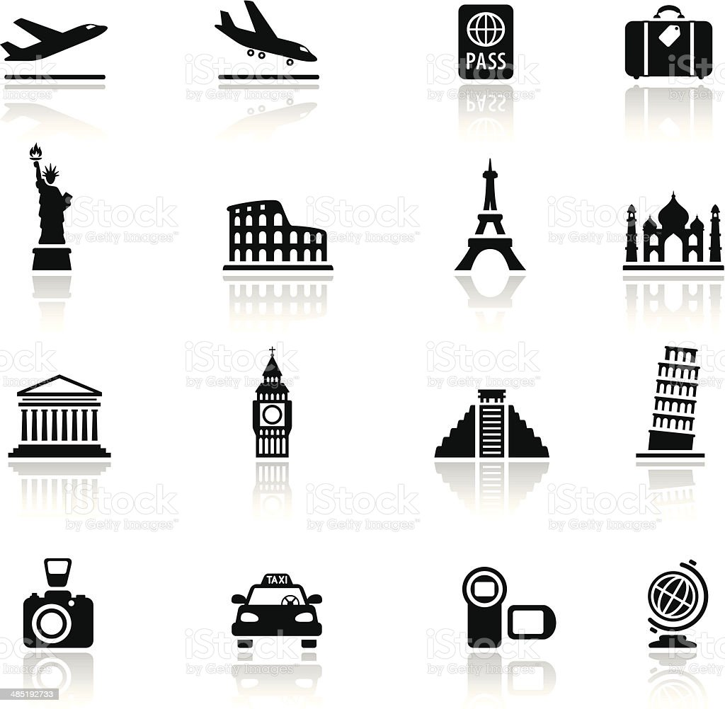 Travel Destinations Icon Set vector art illustration