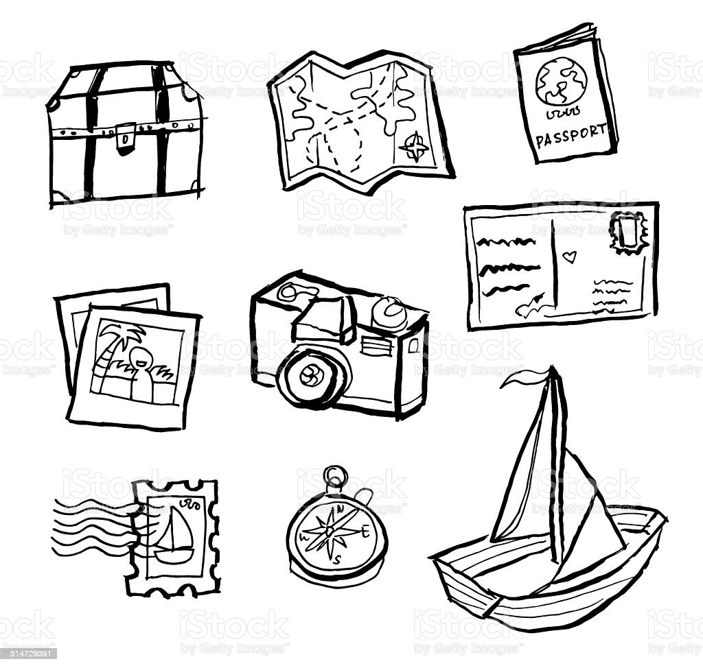 Travel doodle drawings vector art illustration