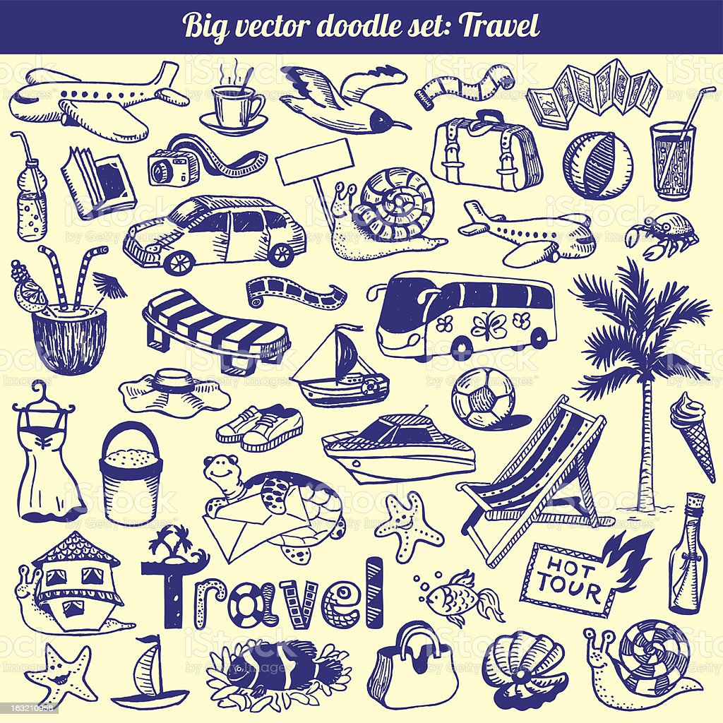 Travel Doodles Collection Vector vector art illustration