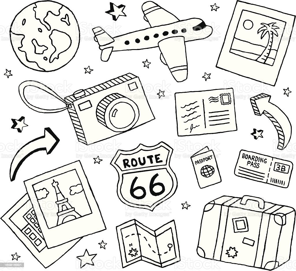Travel Doodles vector art illustration
