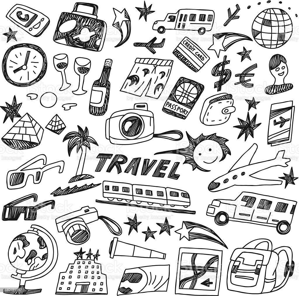 travel - doodles royalty-free stock vector art