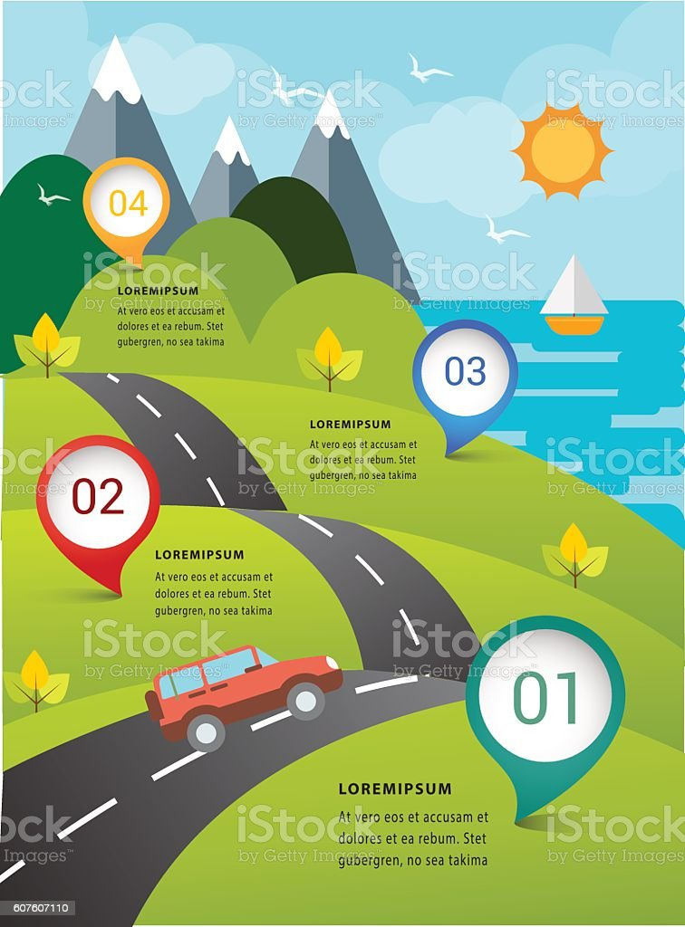 Travel ecology on road nature concept infographic. vector art illustration