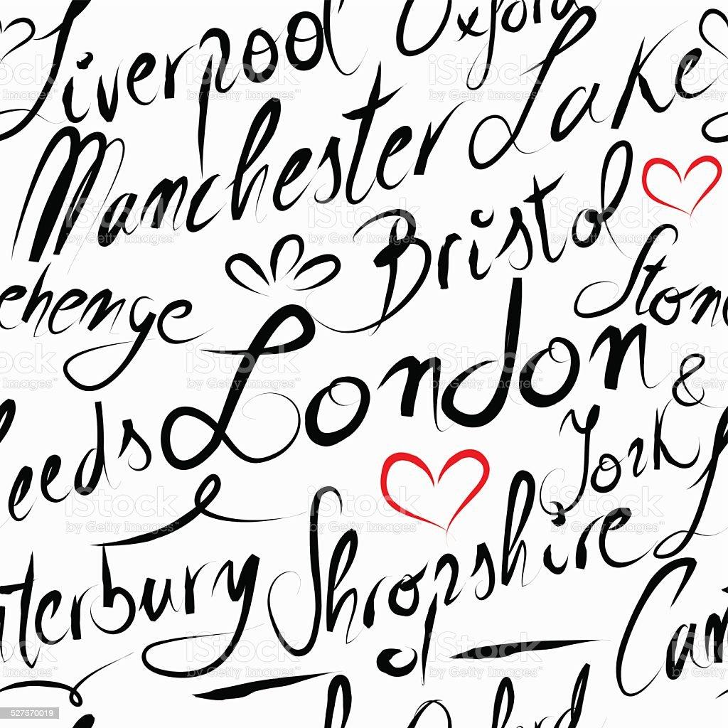 Travel England destination seamless pattern background vector art illustration