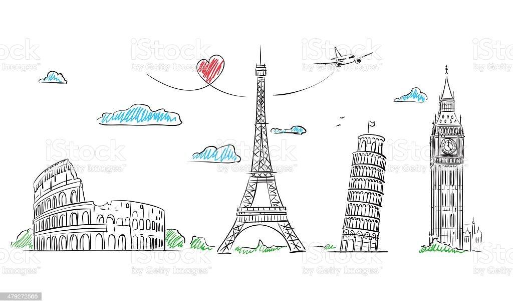 Travel Europe Symbol sketch. Paris, Rome, London, Pisa vector art illustration