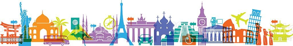 Travel famous landmarks vector art illustration