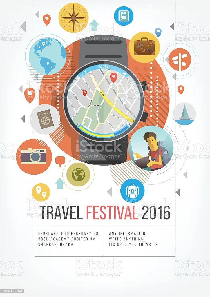 Travel fest in tech vector art illustration