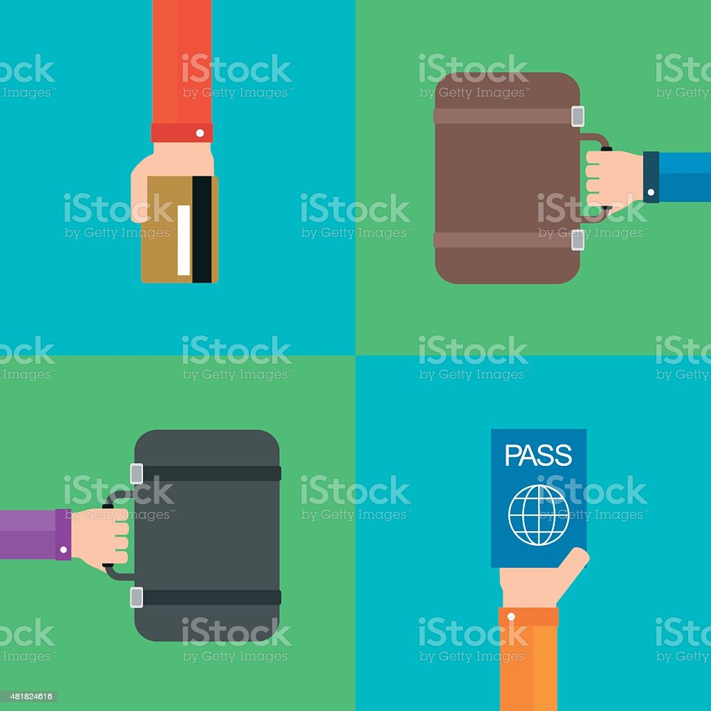 Travel Flat set background with hand .Modern vector vector art illustration