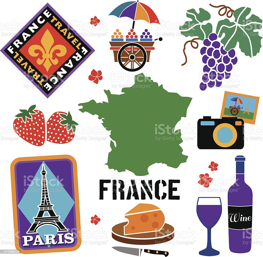 travel France icon set royalty-free stock vector art