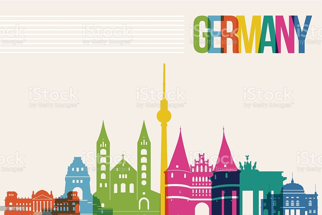 Travel Germany destination landmarks skyline background vector art illustration