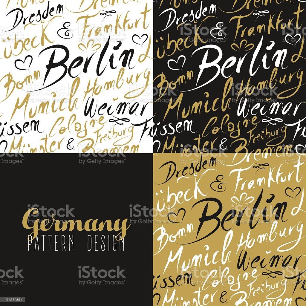 Travel germany europe berlin seamless pattern gold vector art illustration