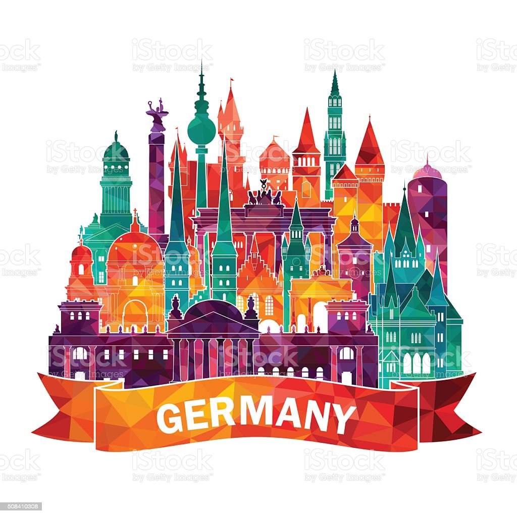 Travel Germany famous landmarks skyline. Vector illustration vector art illustration