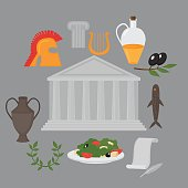 Travel Greek Culture Landmarks  flat icons design set.