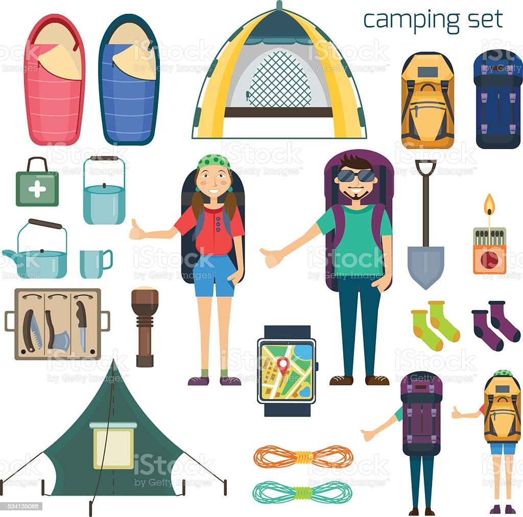 Travel hiking concept. Hitchhiker standing with big backpack vector art illustration