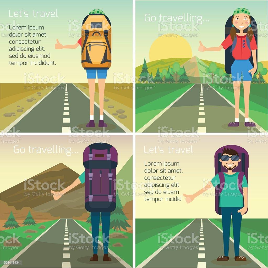 Travel hitchhiking concept vector art illustration