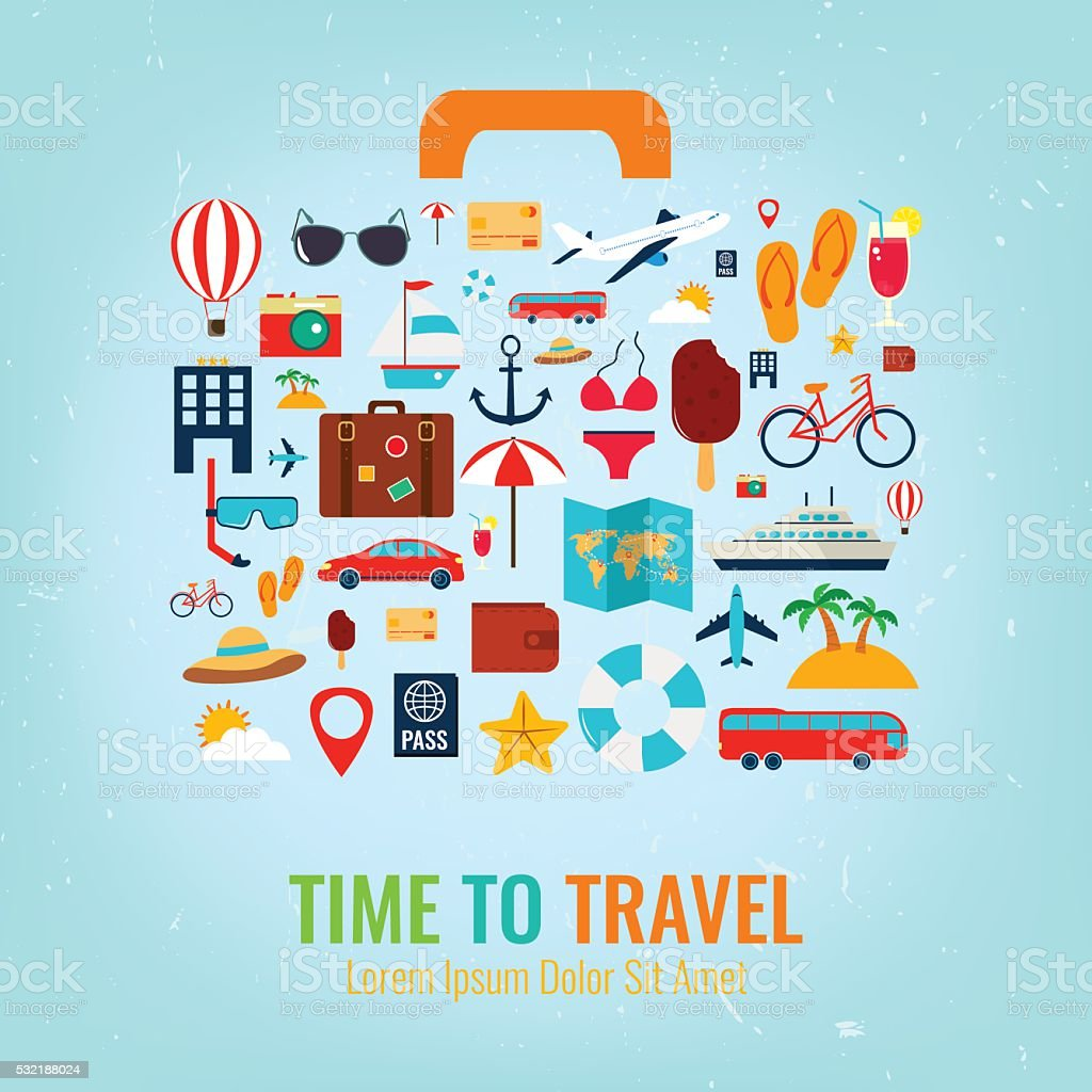 Travel holiday vacation suitcase. Travel and tourism concept. Vector illustration royalty-free stock vector art