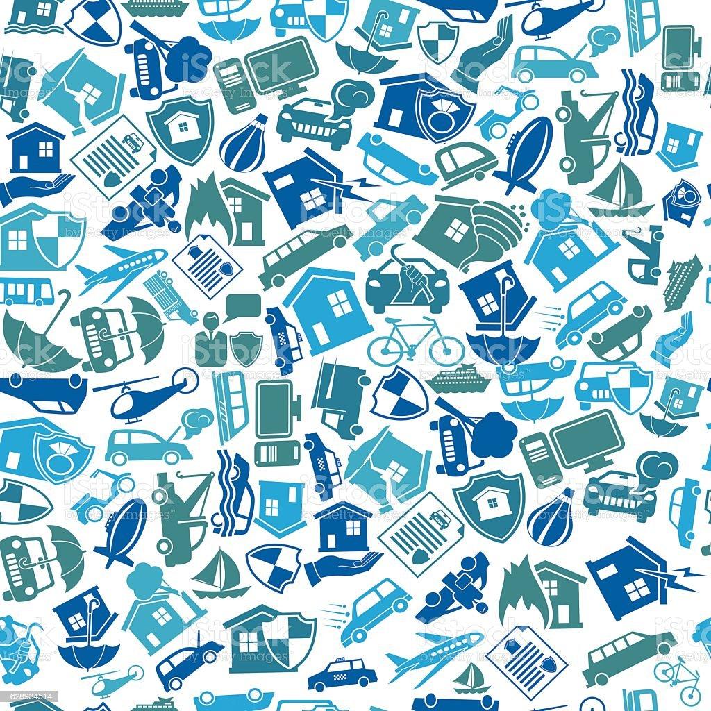 Travel Homeowner and Travel Insurance Seamless Pattern vector art illustration