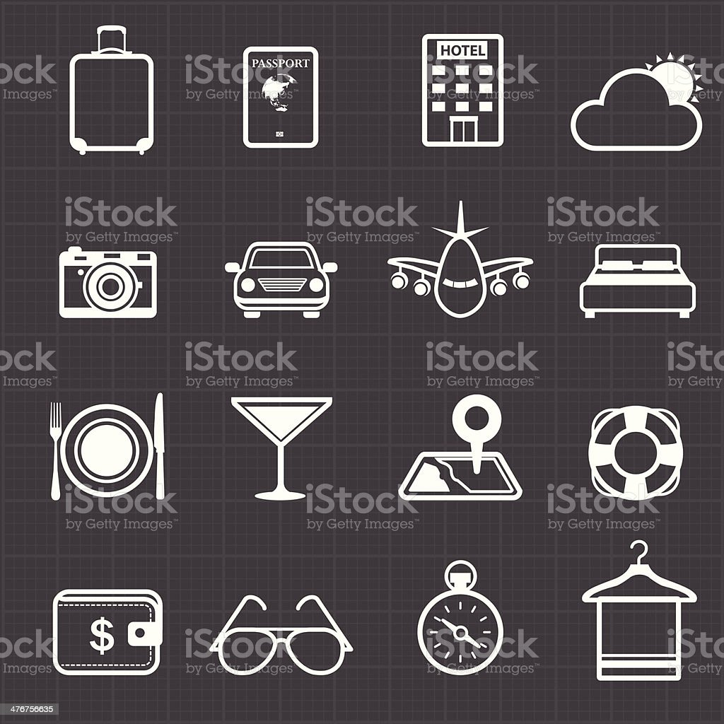 Travel hotel holiday icons and black background royalty-free stock vector art