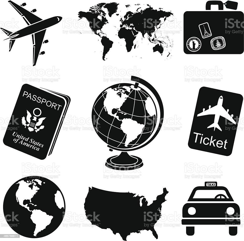 Ensemble dic nes de voyage noir et blanc stock vecteur libres de droits 46578 - Sejour noir et blanc ...