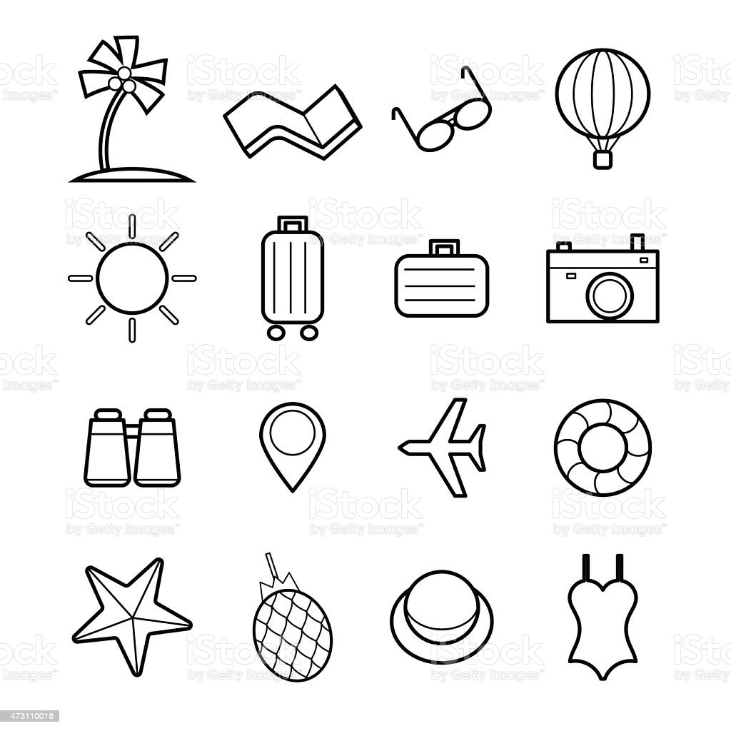 travel icon set vector illustration vector art illustration