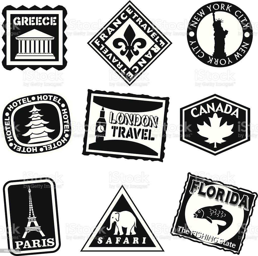 travel icons black and white vector art illustration