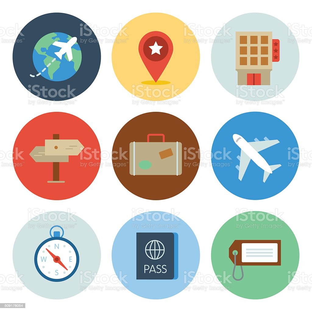 Travel Icons — Circle Series vector art illustration