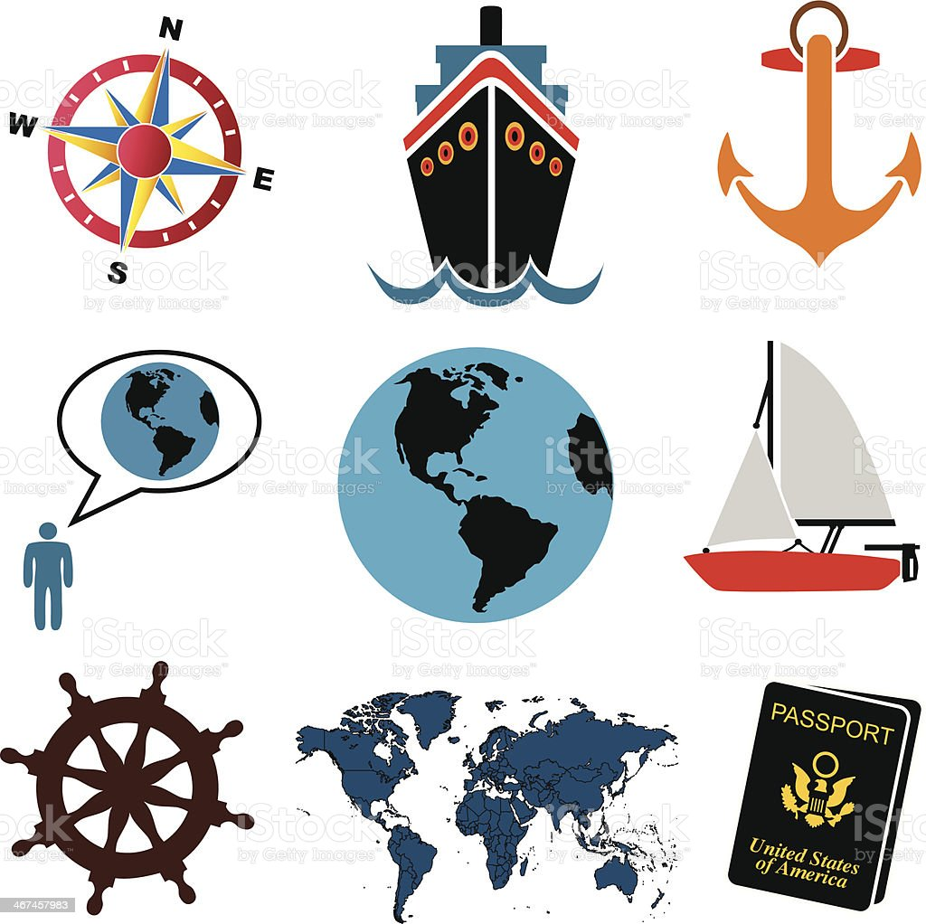 travel icons color vector art illustration