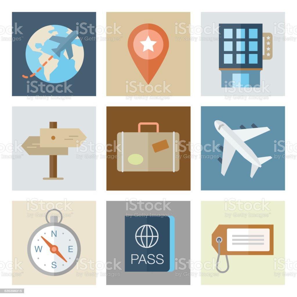 Travel Icons — Flat Series vector art illustration