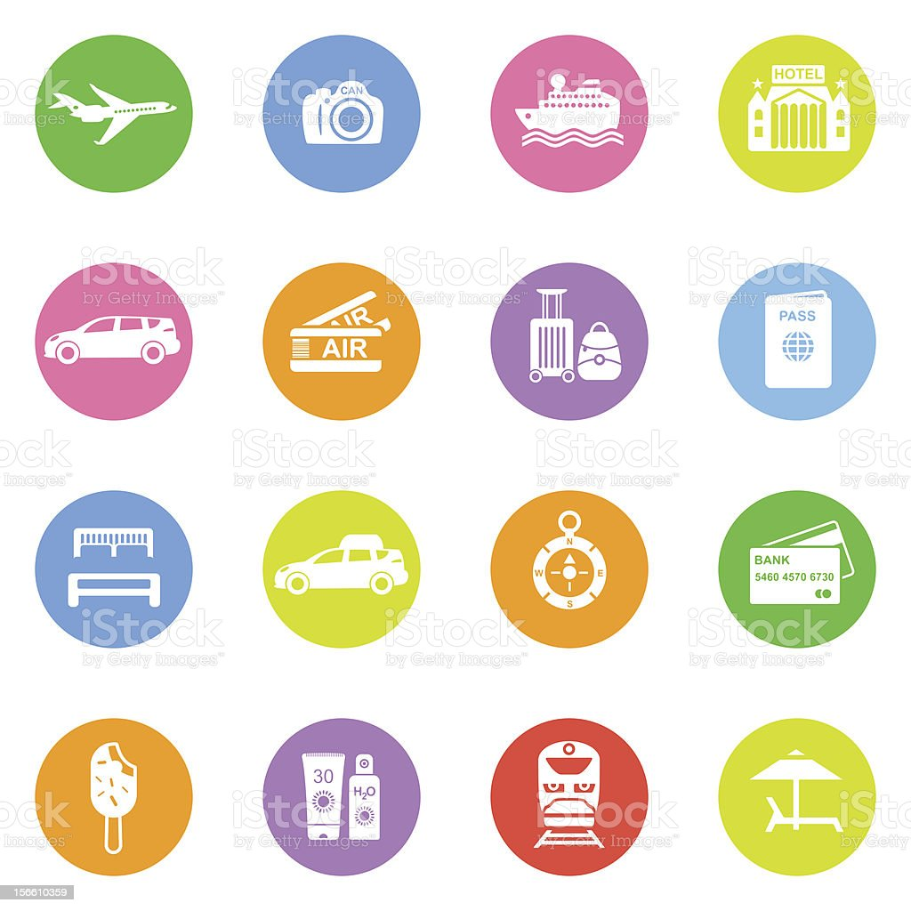 Travel icons in color circles stock photo