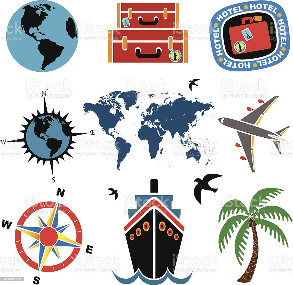 travel icons in color royalty-free stock vector art