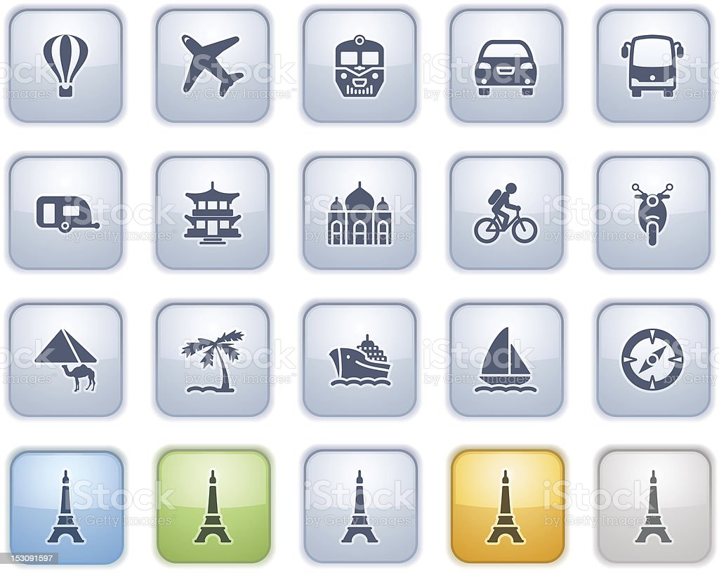 Travel icons on buttons. Color series. royalty-free stock vector art